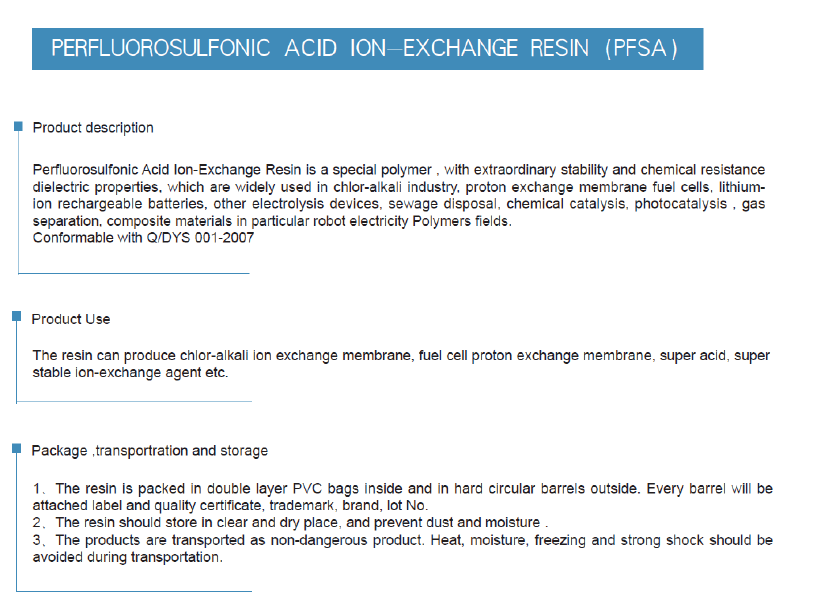 PERFLUOROSULFONIC ACID ION-EXCHANGE RESIN(PFSA)